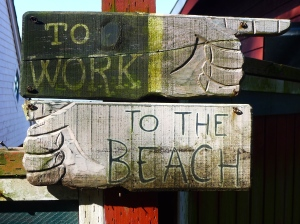 To work, to the beach