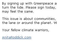 Anita Roddick email 2