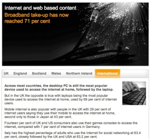 Image of Ofcom communications market report website
