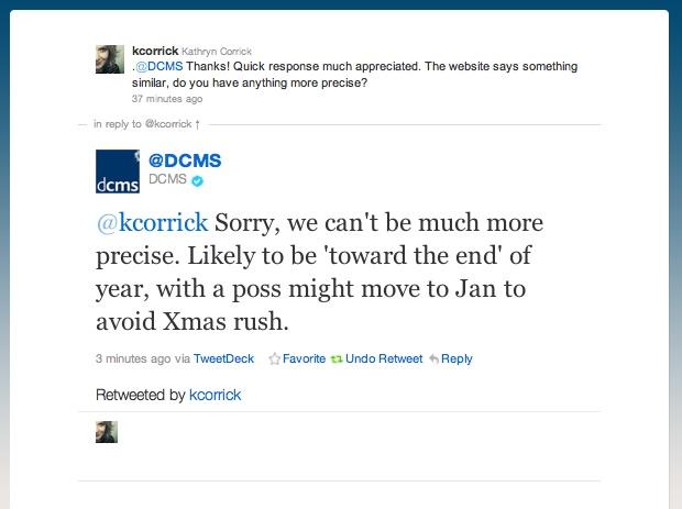 DCMS Twitter response