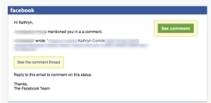Facebook phishing message