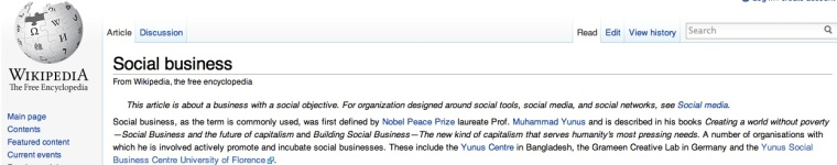 Screen shot from Wikipedia social business entry